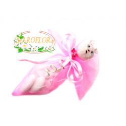 CONI ROSA con Gattina con confetti OREFICE mandorla e cioccolato bianco