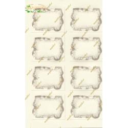 8 PERGAMENE Bigliettini Beige 6x4 cm con Foro in Cartoncino