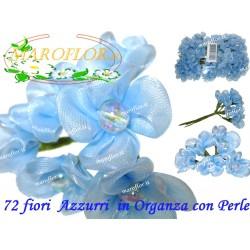 72 FIORI in ORGANZA con PERLA Azzurro Celeste 3cm diametro
