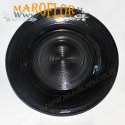 Stock 12 Bomboniere Claraluna 8362 Piatto 21cm in vetro color Black