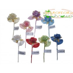 12 Fiorellini per Bomboniere Rosa 3cm diametro in stoffa x Battesimo, Nascita, Compleanni