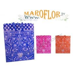 Shop Buste Shopper Blu 15cm in Cartoncino plastificato e decorato per Bomboniere e Regali