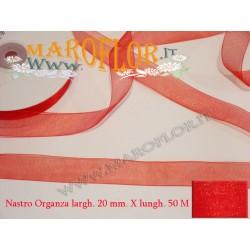 Nastro in Organza Rosso 20 mm x 50 metri Bomboniere