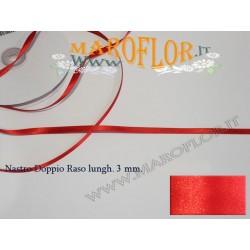 Nastro Doppio Raso Rosso 3mm x 50 metri