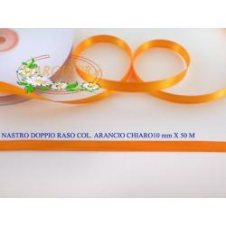 Nastro Doppio Raso Arancio Chiaro 10mm x 50 metri