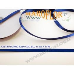 Nastro Doppio Raso Blu 10mm x 50 metri