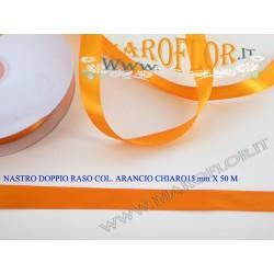 Nastro Doppio Raso Arancio Chiaro 15mm x 50 metri