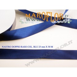 Nastro Doppio Raso Blu 25mm x 50 metri
