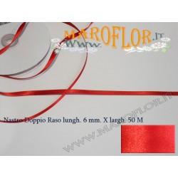Nastro Doppio Raso Rosso 6mm x 50 metri