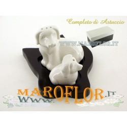 Bomboniere Matrimonio Sale e Pepe in Porcellana Cuccioli Cagnolini con base in legno con Astuccio imbottito