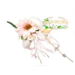 PortaConfetti Fiore Rosa con 3 confetti Orefice al cioccolato bianco