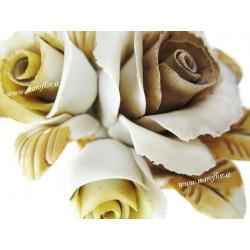 Tralcio Fiore Rosellina con due boccioli in Ceramica Porcellana tipo Capodimonte Bomboniera 8 cm