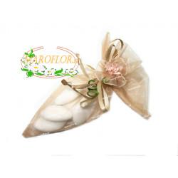 CONI BEIGE con FIORELLINO con confetti OREFICE alla mandorla e cioccolato bianco