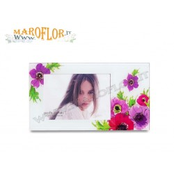 Bomboniere Claraluna 14681 Portafoto orizzontale in vetro con decoro floreale Linea Vidas by Ken Scott