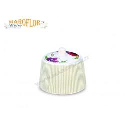 Bomboniere Claraluna 14693 Zuccheriera in porcellana con cucchiaio con decoro floreale Linea Vidas by Ken Scott