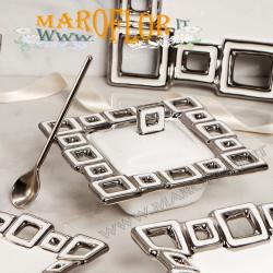 Bomboniera Claraluna Zuccheriera 17003 Porcellana Bianca Silver 15cm decoro Geometrico