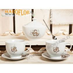 Bomboniera Claraluna Set 2 Tazze con Zuccheriera 17035 in Porcellana Bianca decoro floreale linea Buon Giorno Fiorellino