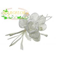 Fiore in ORGANZA Avorio con portaconfetti Segnaposti Ringraziamenti