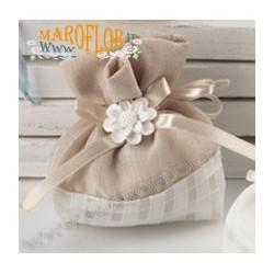 Sacchetto Segnaposto Ringraziamento in Tessuto 12cm color Ecru con Gessetto Fiore