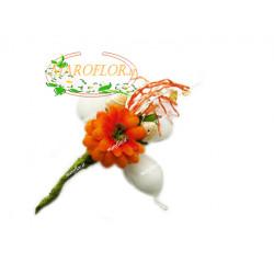PortaConfetti Fiore Arancio con 3 confetti Orefice