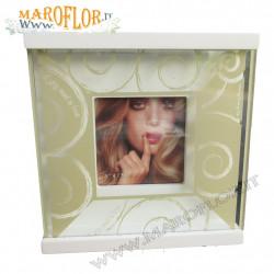 Bomboniere Claraluna 16621 Stock PortaFoto in vetro e legno bianco e tortora 14cm All U Need