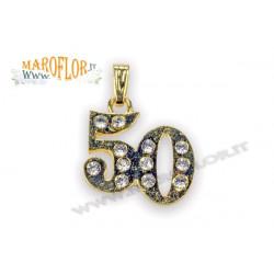 Ciondolo 50° in metallo dorato con punti luce x Anniversario Nozze d'Oro 50 Anni