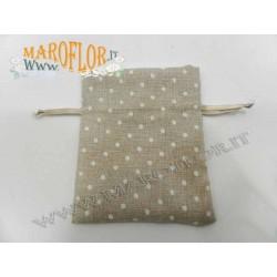 Sacchetto Bomboniera per Confetti in Cotone a pois bianco 12cm