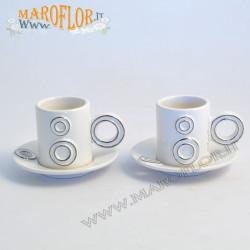 Bomboniera Claraluna 18002 Outlet Set due Tazze in Porcellana bianca e argento in Offerta Stock