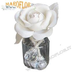 Bomboniera Claraluna 16261 Outlet Diffusore in Vetro Soffiato con Rosa in offerta Stock fine produzione
