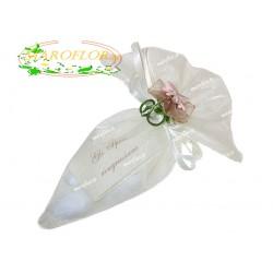 CONI AVORIO con FIORELLINO con confetti OREFICE alla mandorla e cioccolato bianco