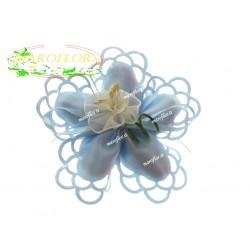 Coccarda 5 Petali Azzurra con Fiore e Confetti Orefice