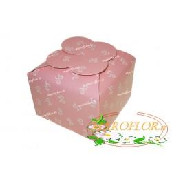 Scatola Bomboniere Rosa 9,5x9,5xh7cm in Cartone con decoro Fiocchi