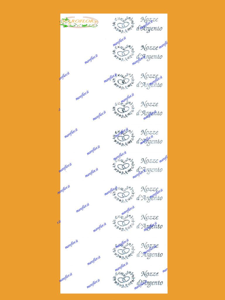 Popolare 10 Bigliettini Bomboniere per Nozze d'Argento cm 9,5x2,5 da stampar UM22