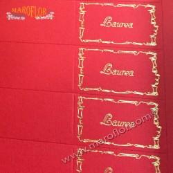 5 Bigliettini Bomboniere Laurea prefustellati Rossi con scritta Oro