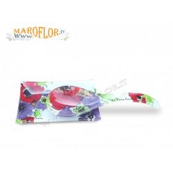 Stock Bomboniere Claraluna Outlet 14673 Vassoio con cucchiaio in vetro con decoro floreale Linea Vidas by Ken Scott