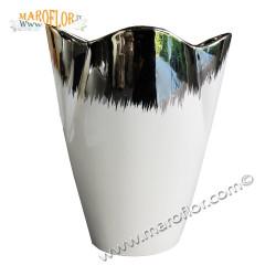 Stock Bomboniere Claraluna 16001 Outlet Vaso 18cm in Porcellana bianca e silver