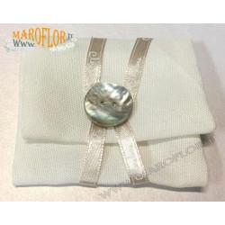 PortaConfetti Claraluna in Tessuto 8cm con Bottone Madreperlato