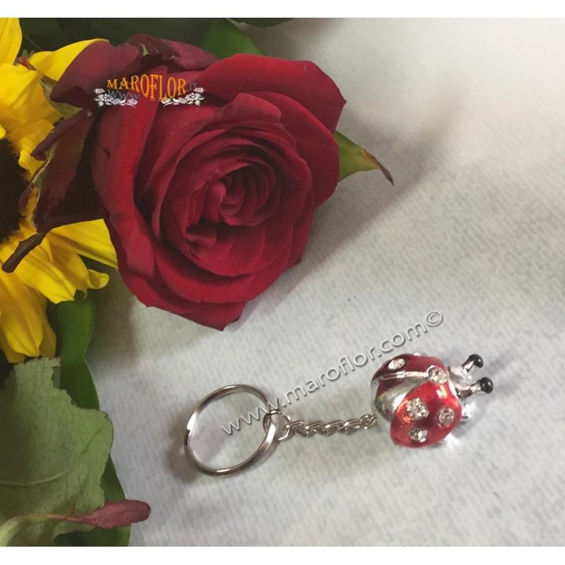 Bomboniera Portachiavi Coccinella Panna Beige 3cm con Strass Punti Luce per Matrimonio Anniversari Compleanno