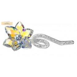 Bomboniera Debora Carlucci Fiore 6 Petali Aurora Boreale con ramo in Cristallo 16cm in Astuccio