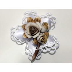 Bomboniera Segnaposto Tralcio Fiore Rosellina con due boccioli in Ceramica tipo Capodimonte 8 cm