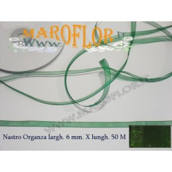 Nastro in Organza Verde Scuro 6 mm x 50 metri Bomboniere