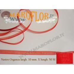 Nastro in Organza Rosso 10 mm x 50 metri Bomboniere