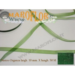 Nastro in Organza Verde 10 mm x 50 metri Bomboniere