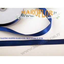 Nastro Doppio Raso Blu 15mm x 50 metri