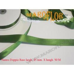Nastro Doppio Raso Verde 25mm x 50 metri
