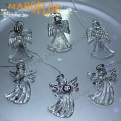 Angeli in Vetro trasparente Bomboniere decoro Argento con filo Argento