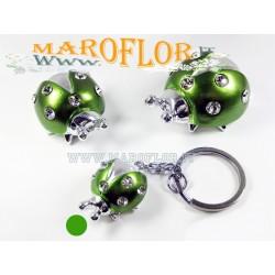 Bomboniera Portachiavi Coccinella Verde 3cm con Strass Punti Luce per Matrimoni Sposi Promesse Anniversari