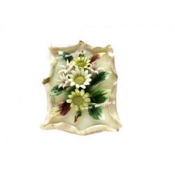 Quadretto Pergamena con fiori in Ceramica tipo Capodimonte Bomboniera