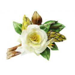 Fiore Tralcio in Ceramica tipo Capodimonte Bomboniera Rosellina 9 cm