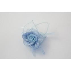 Sacchettino PortaConfetti Fiore in Organza Azzurro Celeste x Bomboniere Battesimi Nascite Compleanni
